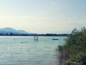 Badi Segräben mit Floss und Sprungturm